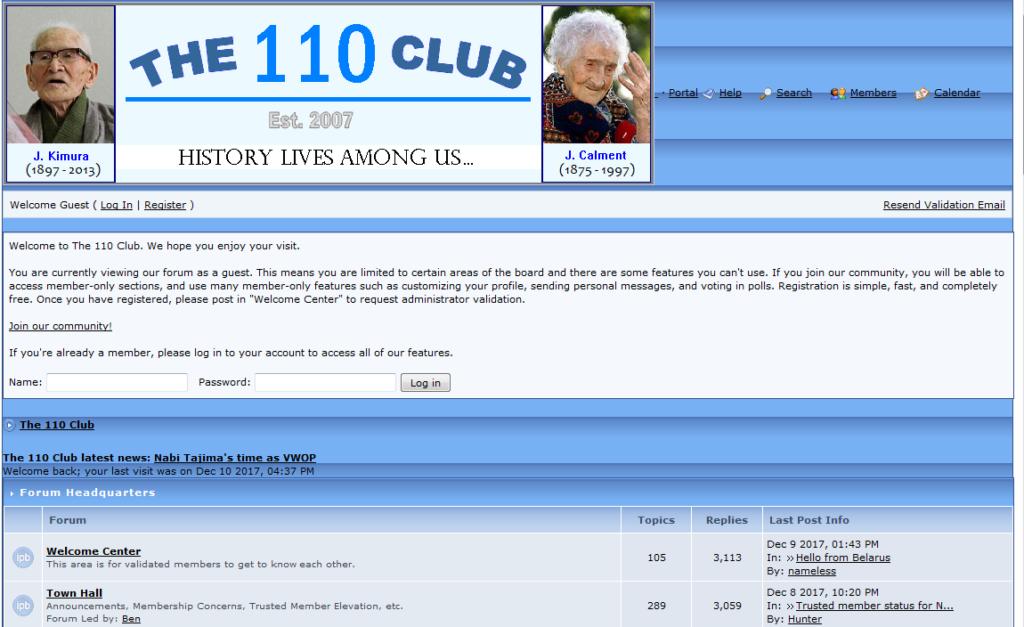 """Homepage """"The 110th Club"""""""