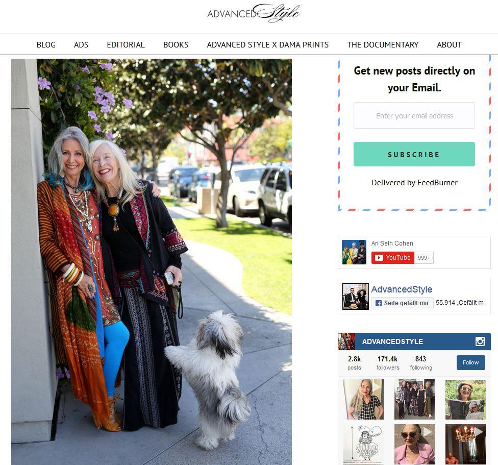 """""""Dolores and Friends"""" auf www.advanced.style - Ein Screenshot aus der Homepage von Ari Set Cohen"""