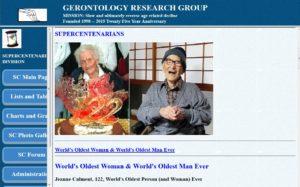Homepage der Gerontology Research Group (Screenshot)